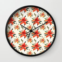 Vintage orange green bohemian flowers pattern Wall Clock