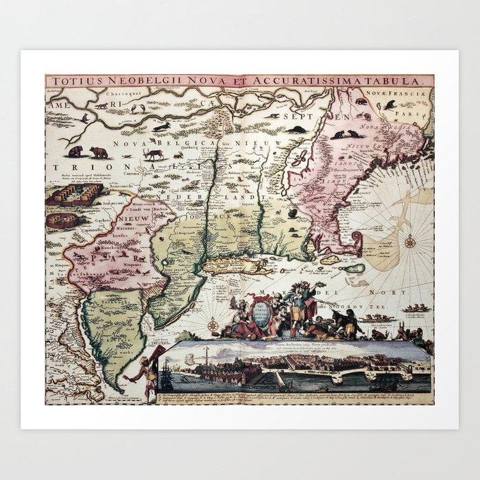 Old New England Map.New England Old Map With New Amsterdam Art Print By Foxxmap Society6