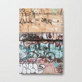Graffiti and Abandoned Bike Under the Stone Arch Bridge Metal Print