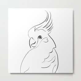 Parrot one line drawing Metal Print