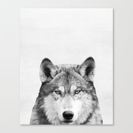 Wolf, Woodland, Animal, ZOO, Nursery, Minimal, Modern, Wall art Canvas Print