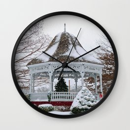 Courthouse Gazebo in the Snow Wall Clock