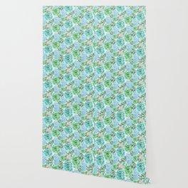 Mint Green Succulents Wallpaper