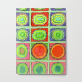 Green Grid filled with Circles and intense Colors Metal Print