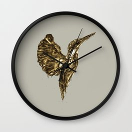 Golden Kingfisher Wall Clock