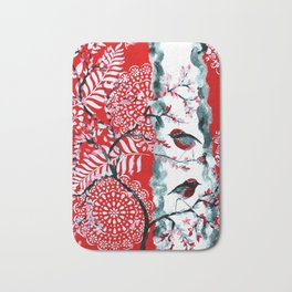Robins with Red and Black Designs Bath Mat