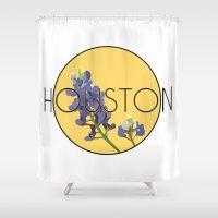 houston Shower Curtains featuring HOUSTON by Lauren Jane Peterson