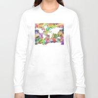 world map Long Sleeve T-shirts featuring world map by Bekim ART