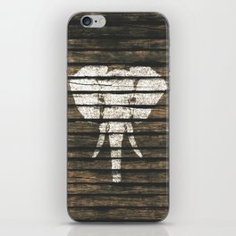 Whimsical White Elephant Vintage Brown Stripe Wood iPhone Skin
