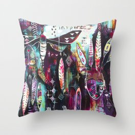 """Inspire Truth"" Original Painting by Flora Bowley & Lynzee Lynx Throw Pillow"
