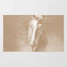 Horse emerging from the mist in iced coffee beige Rug