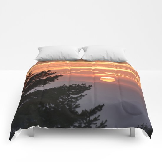 """""""Sun through the clouds and trees"""" Sunset at the mountains Comforters"""