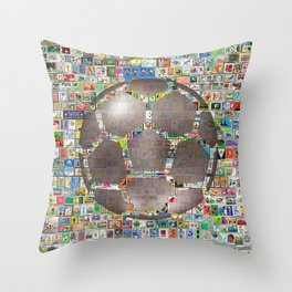 Soccer Ball on Philately Throw Pillow