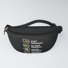 Eat Sleep Game Repeat Fanny Pack