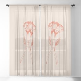 Flower duo in burnt orange inspired by tattoo style, boho chic illustration Sheer Curtain