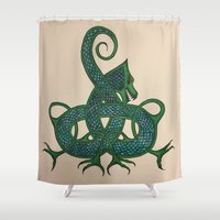 celtic Shower Curtains featuring Celtic Dragon by Erin Malbuisson-Delaney