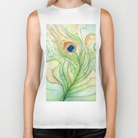 peacock feather Biker Tanks featuring Peacock Feather by Olechka