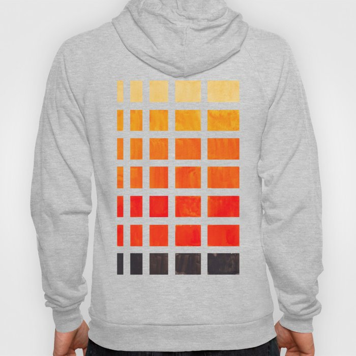 Orange Geometric Pattern Square Matrix Watercolor Art With Black Accent Hoody