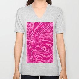 Pink Psychedelic Swirly Pattern Unisex V-Neck