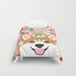 Welsh Corgi cute flowers spring summer garden dog portrait cute corgi puppy funny god illustrations Comforters