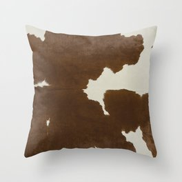 Dark Brown & White Cow Hide Throw Pillow