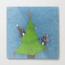 Penguins in a Christmas Tree Metal Print