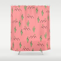 cacti Shower Curtains featuring Cacti by Cale potts Art