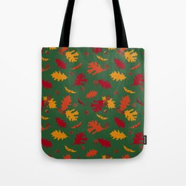 Fall Leaves and Acorns on Green Tote Bag