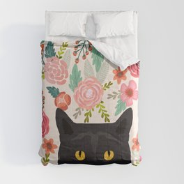 Black Cat florals spring summer animal portrait pet friendly cat lady gifts for her or him cute cats Comforters