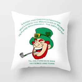 A Randy And Green Leprechaun St Patrick's Day Limerick Throw Pillow