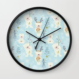 From Bears And Christmas-Cute teal X-Mas Pattern Wall Clock