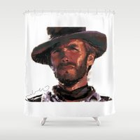 clint eastwood Shower Curtains featuring The Good - Clint Eastwood by pabpaint