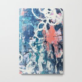 027.3: a vibrant abstract design in blue teal pink and cream by Alyssa Hamilton Art Metal Print