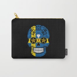 Sugar Skull with Roses and Flag of Sweden Carry-All Pouch