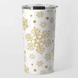 Golden snowflakes Travel Mug