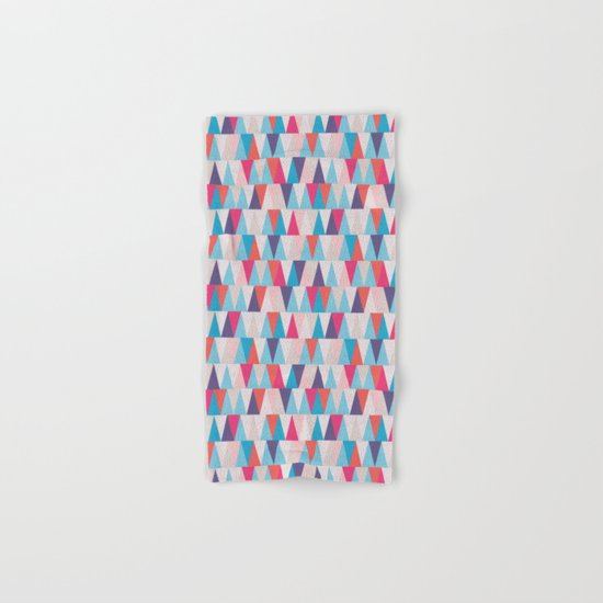 Blue & Pink Geometric Triangle Pattern Hand & Bath Towel