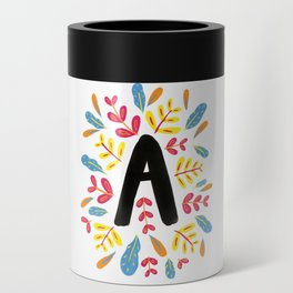 Letter 'A' Initial/Monogram With Bright Leafy Border Can Cooler