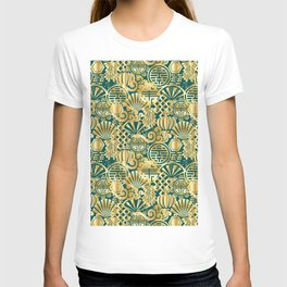 Chinese Symbols in Gold and Emerald Jade Green T-shirt