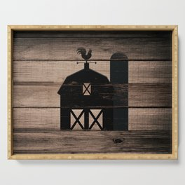 Black Rustic Barn & Rooster Serving Tray