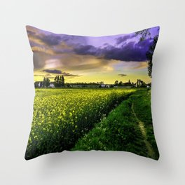 Rapeseed Sunset Throw Pillow