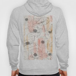 Watercolor Poppies Seamless Print Hoody