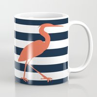 crane Mugs featuring Crane by Gathered Nest Designs