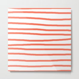 Simply Drawn Stripes in Deep Coral Metal Print