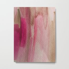 Blush: a pretty and gentle watercolor piece in pinks and browns Metal Print