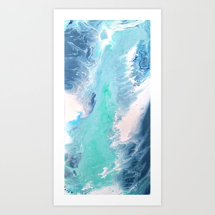 fffe5fda70b Blue Fluid Painting Waves Fluid Acrylic Abstract Art Print by ...