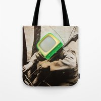 bass Tote Bags featuring Bass TV by Marko Köppe