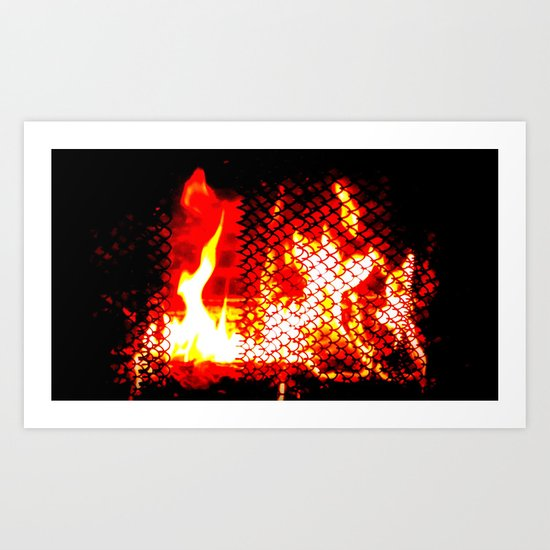 Sleep Now By The Fireplace Art Print