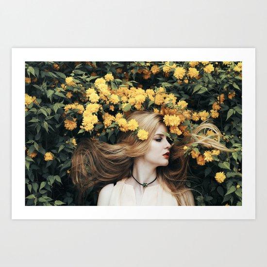 Floral girl Art Print