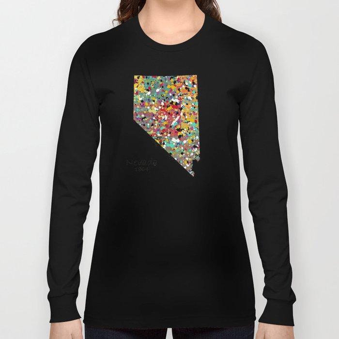 Nevada state map Long Sleeve T-shirt