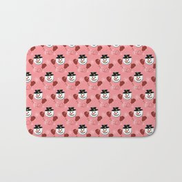 Holiday Snowman Pattern Red Background Bath Mat